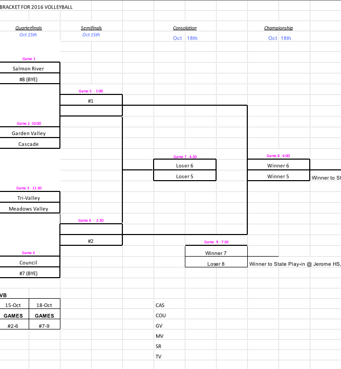 Volleyball District Bracket